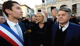 NATIONAL FRONT leader Marine Le Pen attends a gathering to pay tribute to the 'Charlie Hebdo