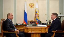 Russian President Vladimir Putin (L) meets an official in this photo released by the Kremlin