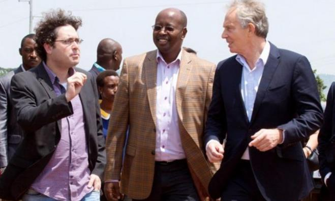 Gigawatt Global co-founder Chaim Motzen, Rwandan Minister James Musoni, and  Tony Blair.