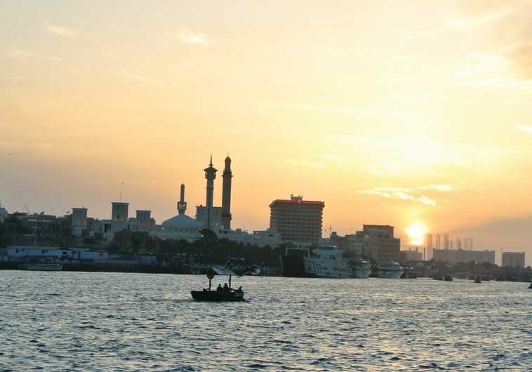 THE DUBAI CREEK at sunset