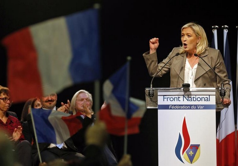 France's far-right National Front political party leader Marine Le Pen delivers a speech