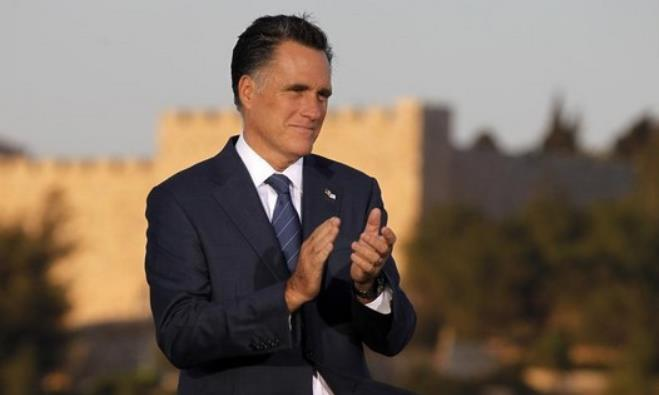 US Republican Presidential candidate Mitt Romney delivers foreign policy remarks in Jerusalem