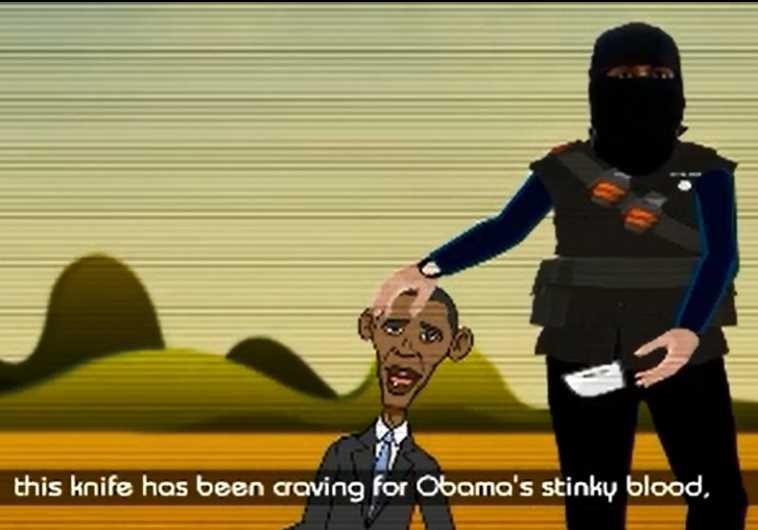 A cartoon image of an ISIS terrorist beheading US President Barack Obama