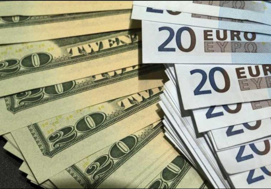 US dollars and euros banknotes are seen in this illustration photo