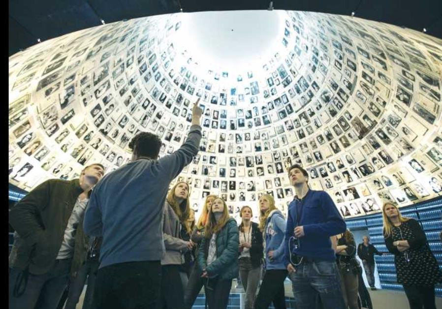 STUDENTS FROM Germany visit the Hall of Names at Yad Vashem in Jerusalem