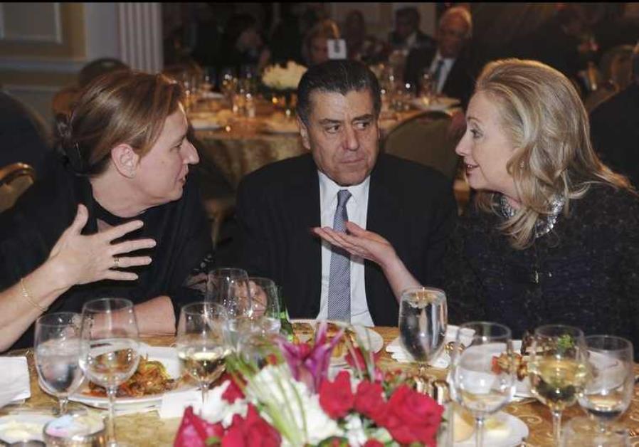 From left: Tzipi Livni, Haim Saban, and Hillary Clinton