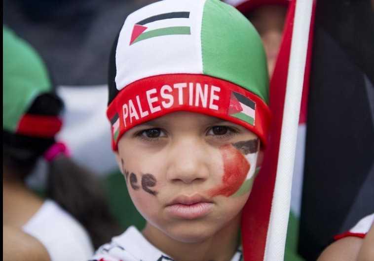 A boy attends a pro-Palestinian demonstration in Berlin