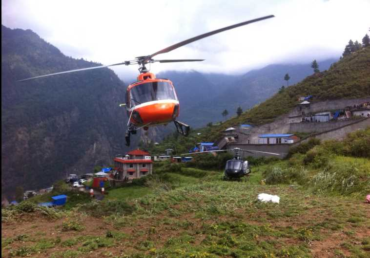 Rescue helicopters are deployed in Nepal
