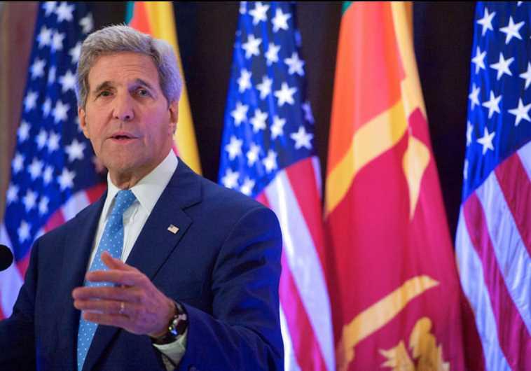 US Secretary of State John Kerry addresses the press in Sri Lanka