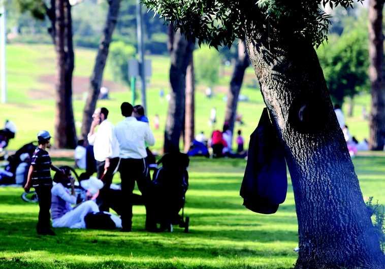 Famille haredite au parc