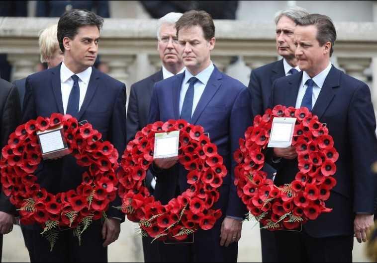 Ed Miliband (L), Nick Clegg, and Prime Minister David Cameron