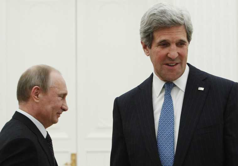 Secetary of State John kerry and Russian President Vladamir Putin