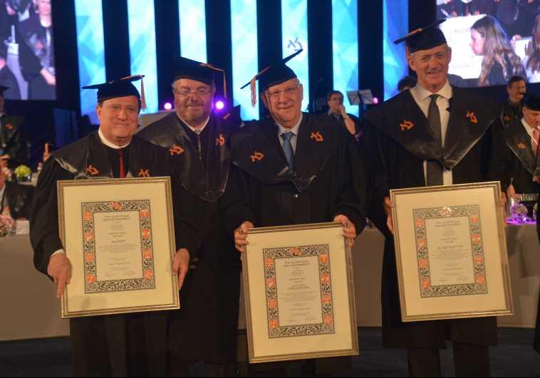 Yehoram Gaon, Bar-Ilan U. President Rabbi Prof. Daniel Hershkowitz, President Reuven (Ruvi) Rivlin a