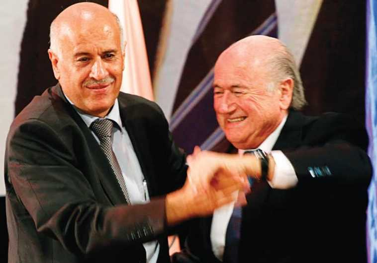Palestinian Football Association President Jibril Rajoub (L) and FIFA President Sepp Blatter