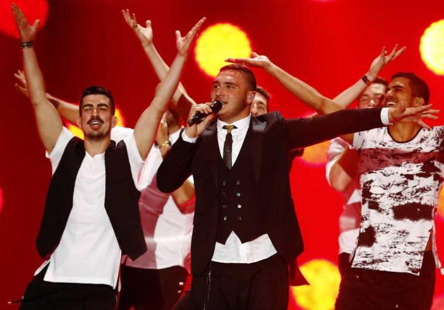 Nadav Guedj representing Israel performs during a dress rehearsal