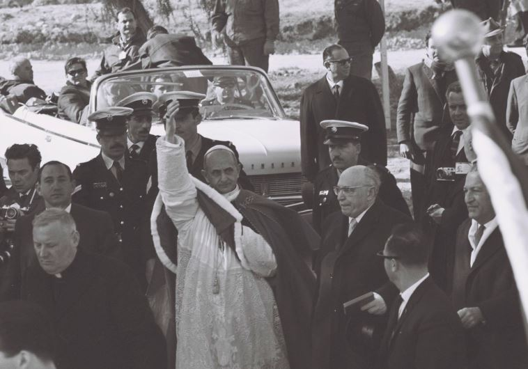 Pope Paul VI at Meggido in 1964: He made sure the name Israel would never escape his lips. President