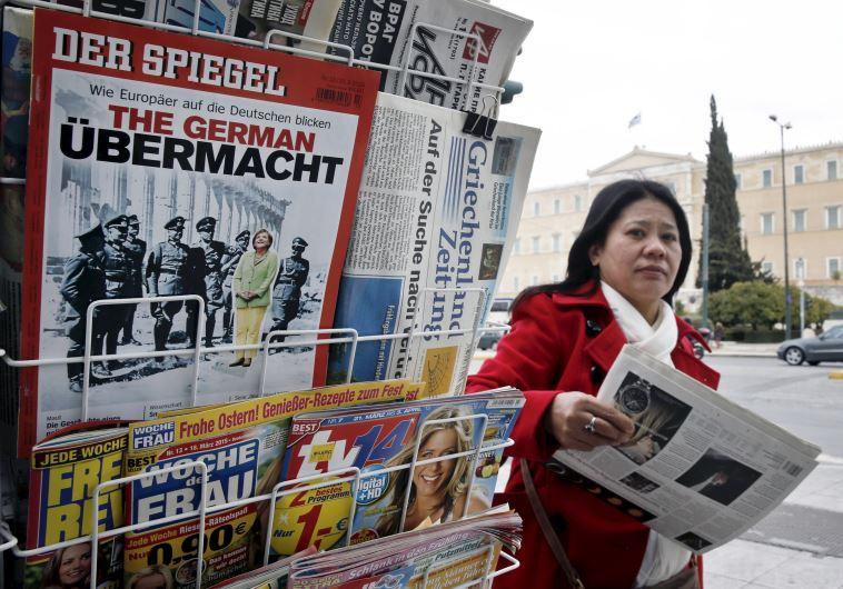 German news magazine Der Spiegel is seen at a newsstand in Athens