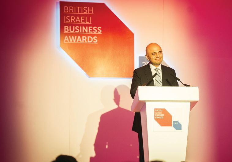 UK BUSINESS SECRETARY Sajid Javid speaks at the UK Israel Business annual awards dinner on Monday.