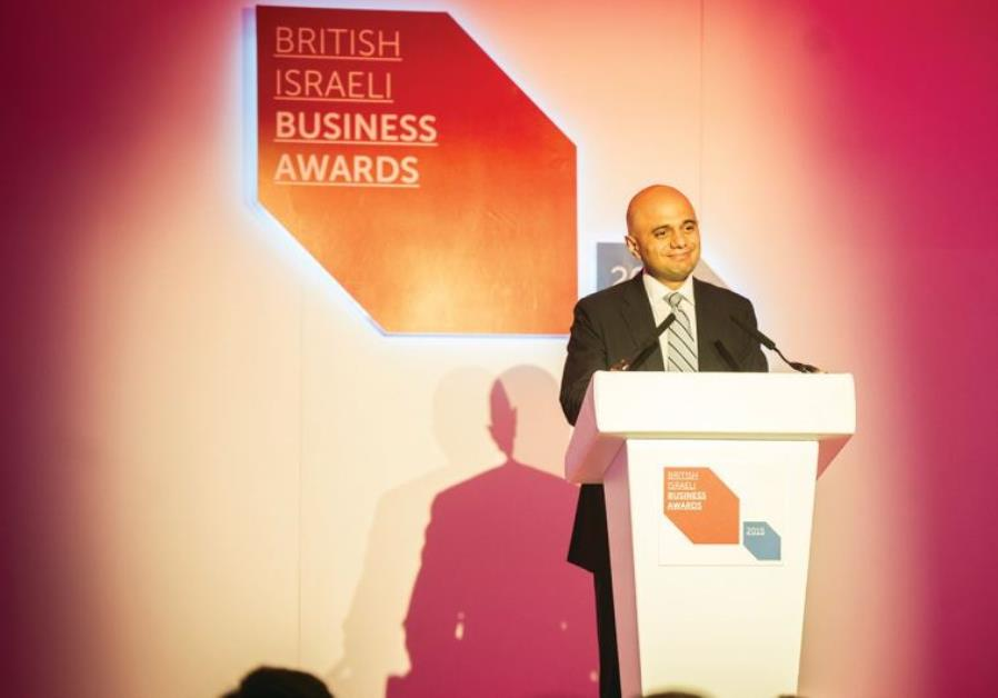 UK BUSINESS SECRETARY Sajid Javid speaks at the UK Israel Business annual awards dinner on Monday.