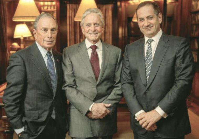 MICHAEL BLOOMBERG (left), Michael Douglas and Stan Polovets gather in New York City