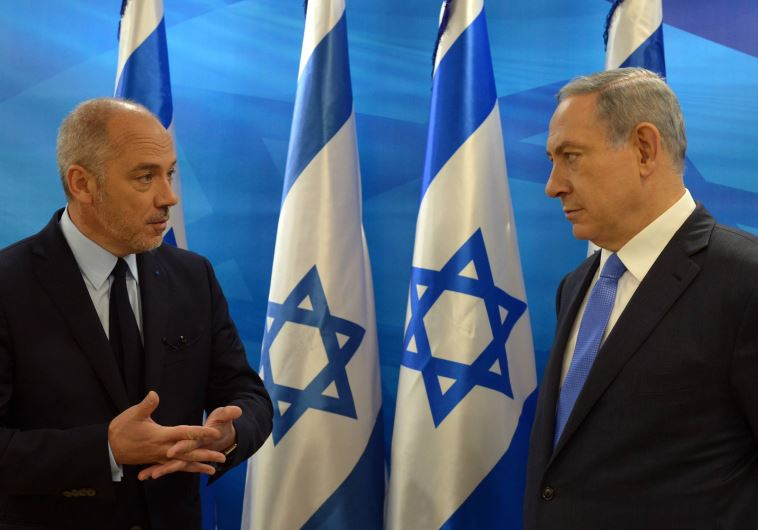 Chairman and CEO of Orange Stephane Richard and Prime Minister Benjamin Netanyahu