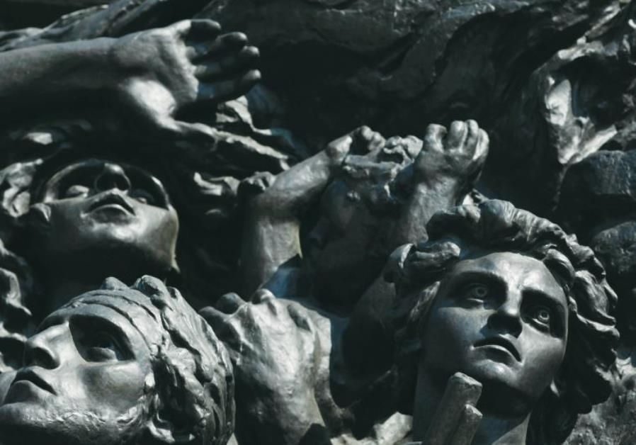 The Monument to the Ghetto Heroes in Warsaw.
