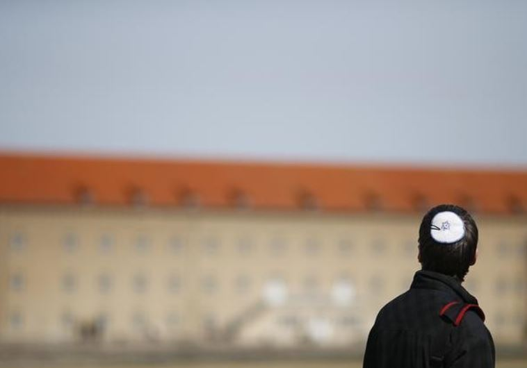 A Jewish man visits the Nazi concentration camp of Buchenwald