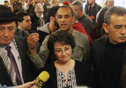 KNESSET MEMBER Haneen Zoabi speaking with the press last year