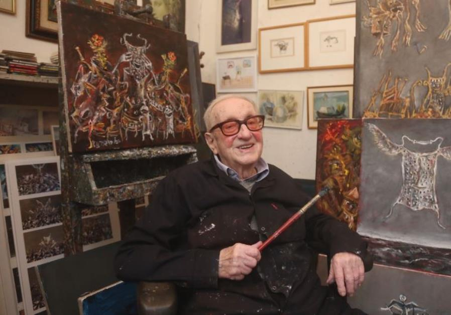 INTERNATIONALLY RENOWNED artist Yosl Bergner sits in his Tel Aviv studio on Tuesday