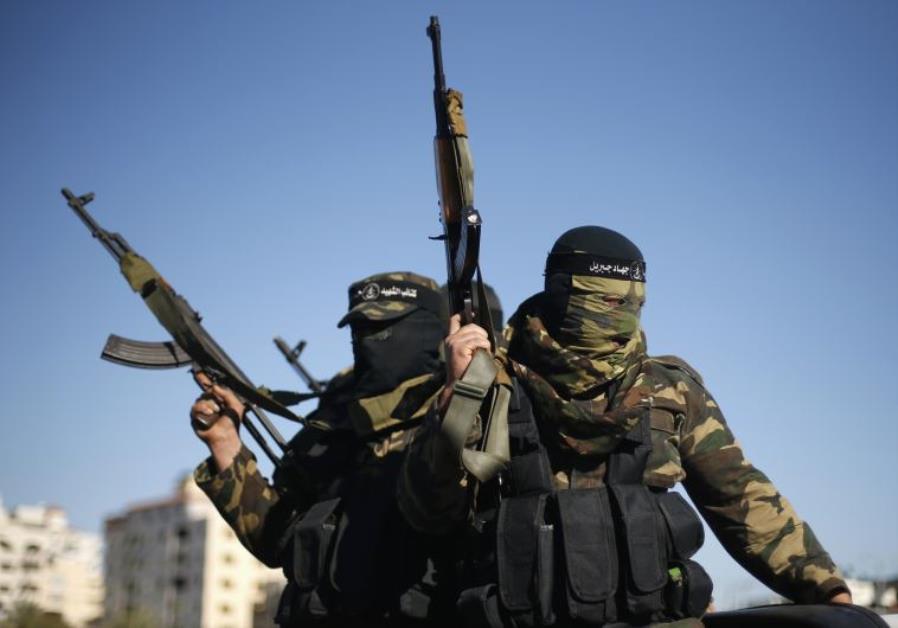 Palestinians militants rally in Gaza City
