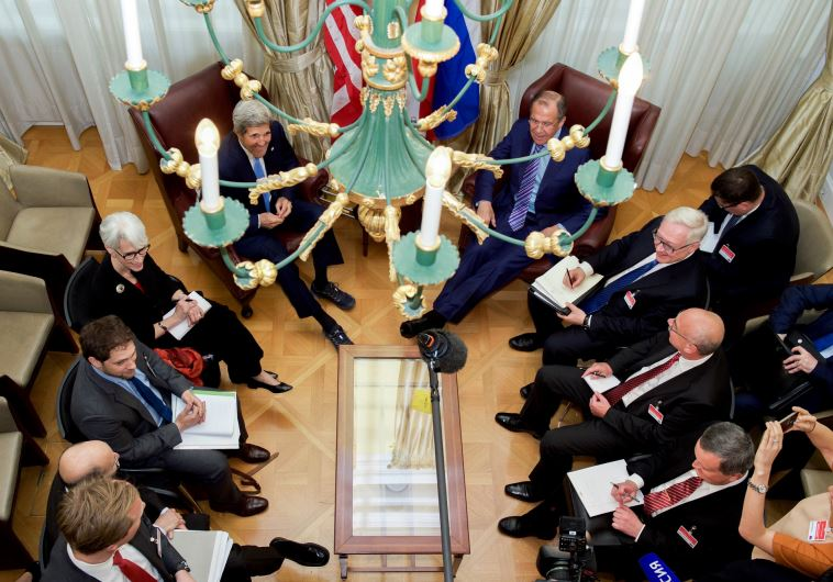 US Secretary of State John Kerry, Russian Foreign Minister Sergey Lavrov, and counterparts