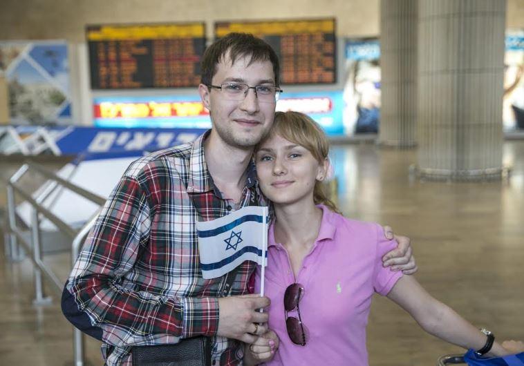 ROMAN MAKRIA and Sasha Malinka arrive at Ben-Gurion Airport on Wednesday.