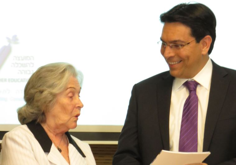 Prof. Ruth Arnon presenting report to Science, Technology and Space Minister Danny Danon