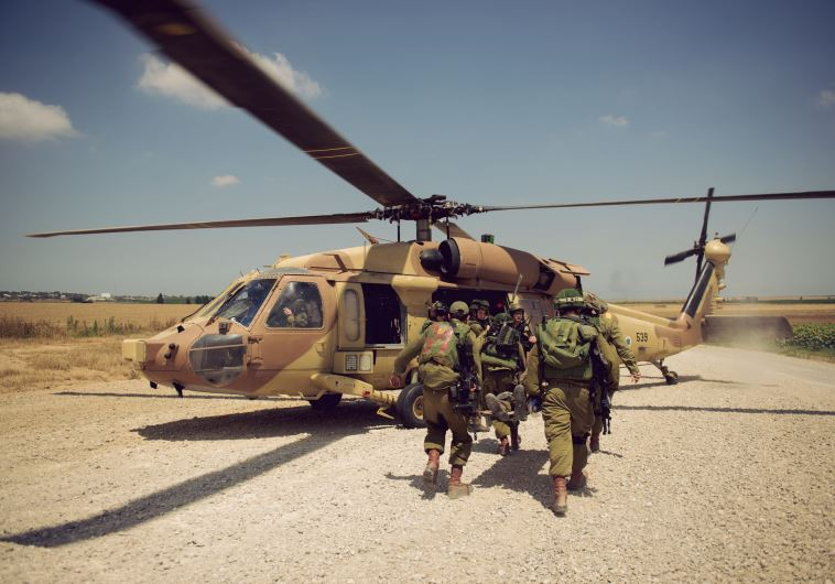 IDF soldiers in the Paratrooper Brigades take part in an evacuation drill