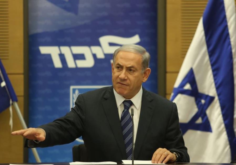 Prime Minister Benjamin Netanyahu gestures during an appearance at a Likud faction meeting