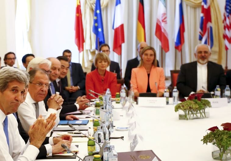 Negotiators during a meeting at the hotel where the Iran nuclear talks were held in Vienna, Austria July 6, 2015 (Reuters)