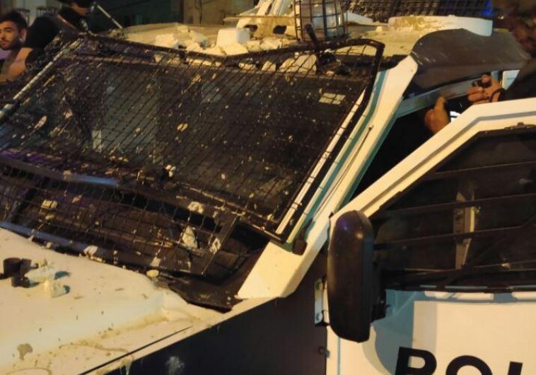 Damage done to Israeli police vehicle