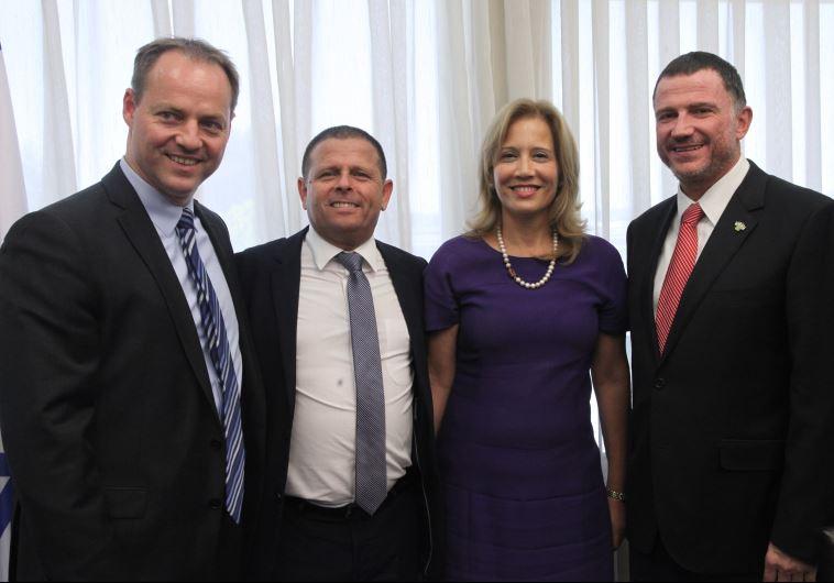 From left: IDI President Yohanan Plesner, Eitan Cabel, Aliza Lavie, and Yuli Edelstein