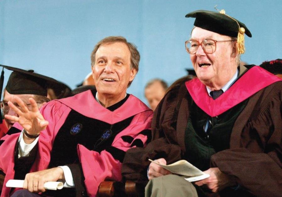 FORMER HARVARD President Neil Rudenstine, left, and former NY Senator Daniel Patrick Moynihan