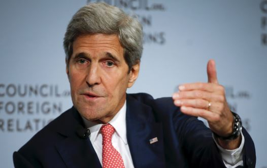 US Secretary of State John F. Kerry speaks to the audience as he discusses the Iran nuclear deal