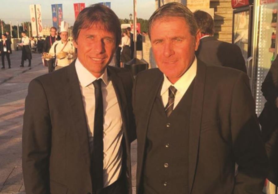 Israel national team coach Eli Gutman (right) met Italy coach Antonio Conte near St. Petersburg