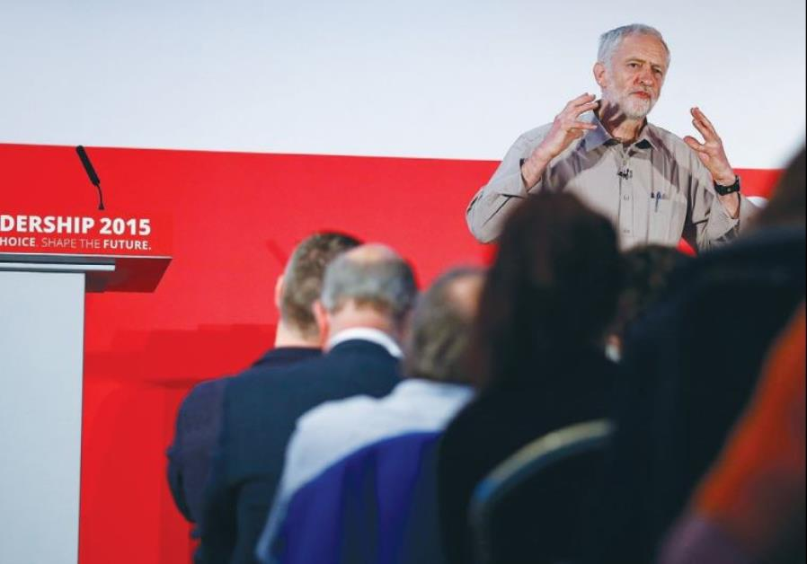 CANDIDATE JEREMY CORBYN speaks during a Labor Party leadership event in Stevenage, England