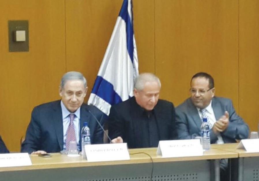 Netanyahu, Likud Deputy Minister Ayoub Kara (right), and MK Avi Dichter meet with Druse students in