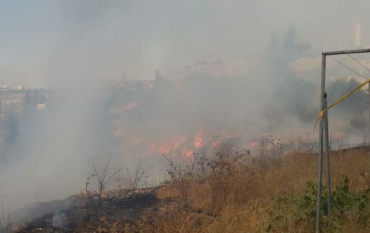 A fire believed to have been caused by Palestinian arsonists near a settlement