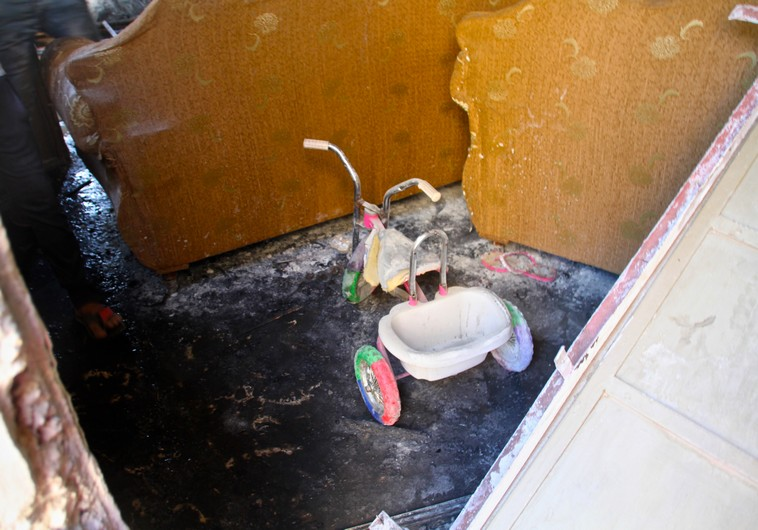 Photo of a tricycle that survived the fire in the Dawabsha home on Duma