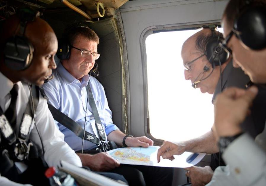 US Secretary of Defense Ash Carter (second from left) and Defense Minister Moshe Ya'alon