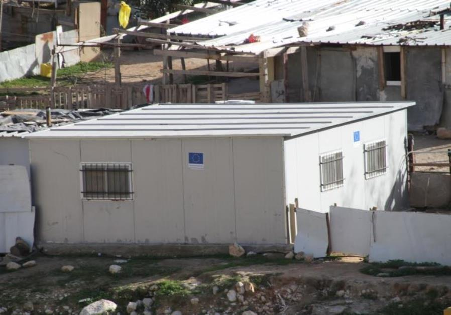 EU funded structure in a Palestinian Beduin encampment outside of the Ma'aleh Adumim settlement in t