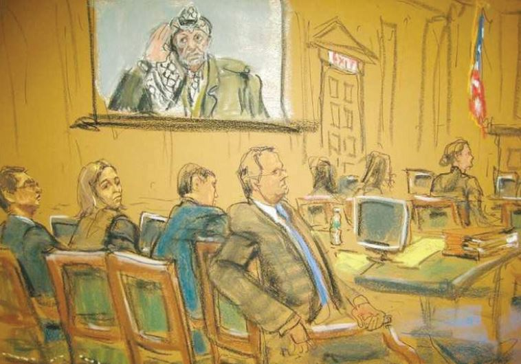 AN ARTIST'S rendition of the Arab Bank trial in New York earlier this year.