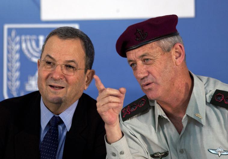 Then-IDF chief Benny Gantz (R) speaks with then-defense minister Ehud Barak in Jerusalem