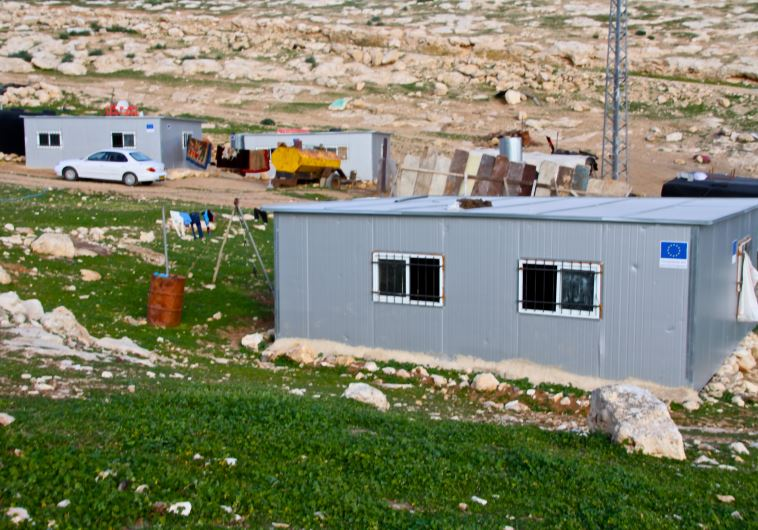 Illegal EU funded Palestinian structures in the area of Kfar Adumim.